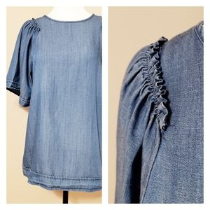Loft | Chambry Linen Blend Top with Ruffle